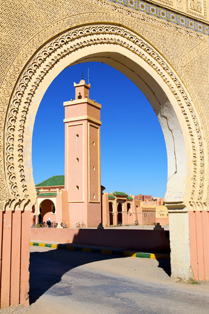 archways: in maroc africa   minaret and the blue sky
