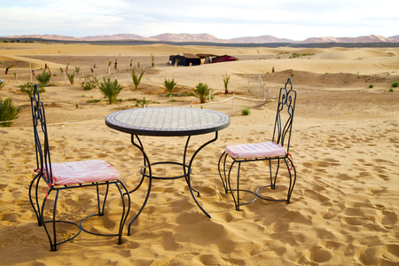 oasis: table and seat in  desert sahara morocco    africa yellow sand