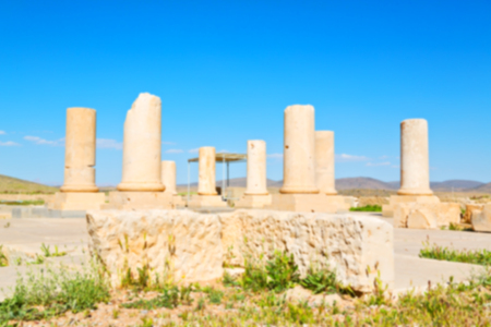 in iran   pasargad the old construction  temple and grave column blur Stock Photo