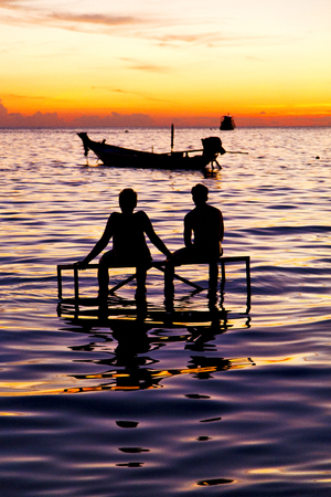 isles: sunrise people boat  and water in thailand kho tao bay coastline south china sea