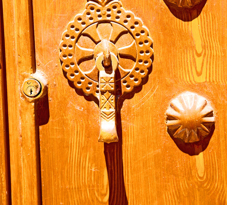 blur in iran antique door entrance and      decorative handle for background