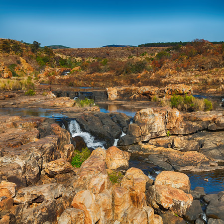 in south  africa river canyon park nature reserve  sky and rock Stock Photo