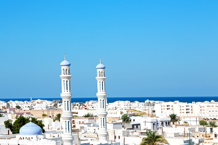 minaret and religion in clear sky in oman muscat the old mosque Standard-Bild