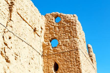 adobe wall: in iran the old castle near saryadz brick and sky