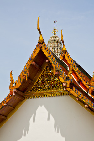 asia  bangkok in   temple  thailand abstract   cross colors roof    wat        and    colors religion mosaic  sunny  Stock Photo