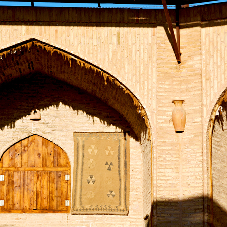 arcades: blur in iran antique palace and    caravanserai old contruction for travel people  Stock Photo