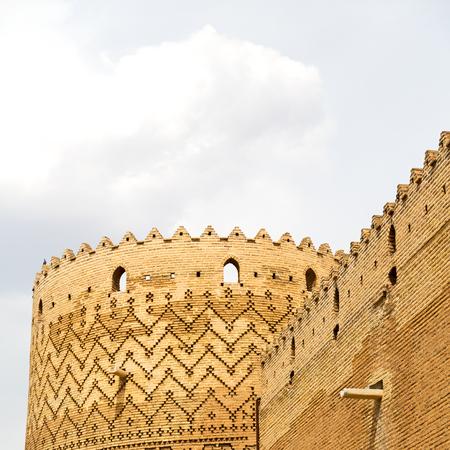 blur in iran shiraz the old castle   city defensive architecture near a garden