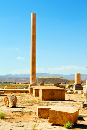 blur  in iran   pasargad the old construction  temple and grave column blur  Stock Photo