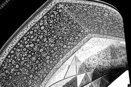esfahan: blur in iran abstract texture of the  religion  architecture mosque roof persian history Stock Photo