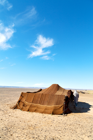 tent in  the desert of morocco sahara and rock  stone    sky Stock Photo