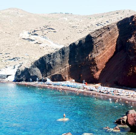 in santorini  greece europe water    and mediterranean coastline sea red beach