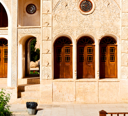 blur in iran kashan the old persian architecture window and glass in background Stock Photo