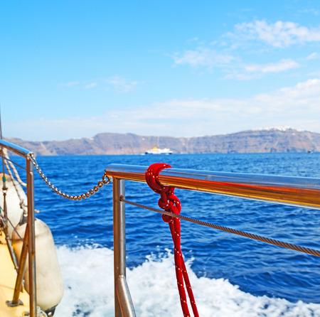rope    and metal  in the blue say ocean mediterranean sea