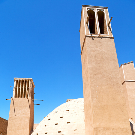 in iran   yazd  the old  wind tower construction  used to frozen water and ice