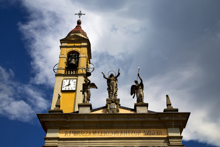 in cairate varese italy   the old wall terrace church watch bell clock tower