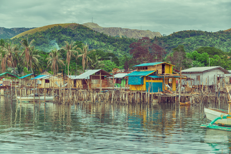 philippines house in the  slum for poor people concept of poverty and degradations Stock Photo