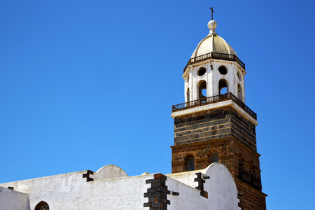 in teguise  arrecife lanzarote  spain the old wall terrace church bell tower