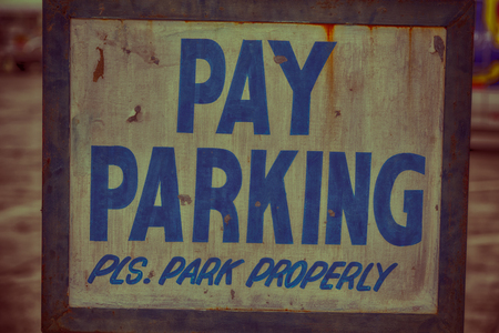 urban area: in  philippines old dirty label of parking signal concept