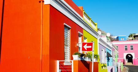 Borroso en Sudáfrica cabo ciudad bo kaap arquitectura como textura fondo Foto de archivo - 75638156