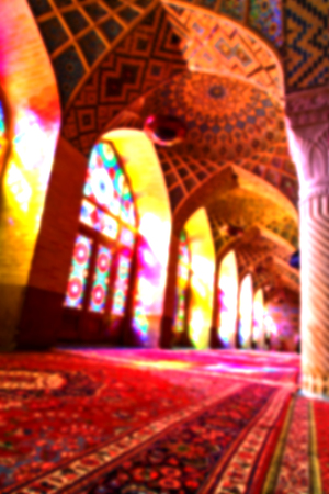 fars: in iran blur colors from the windows the old mosque traditional scenic light