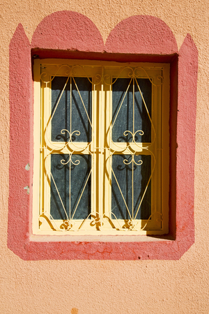 old brick wall:  window in morocco africa and old construction wal brick historical Stock Photo