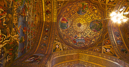 blur  in iran the old      cathedral and traditional gold wall painted Stock Photo