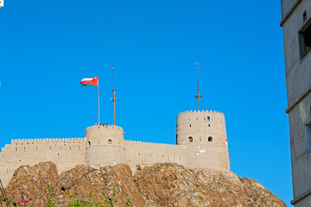 fort battlesment sky and   star brick in oman muscat the old defensive Stock Photo