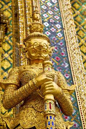 demon in the temple bangkok asia   thailand abstract cross colors step gold wat  palaces  warrior monster Stock Photo