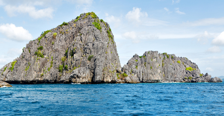 nido: blur  in  philippines   a view from  boat  and the pacific ocean  islands  background