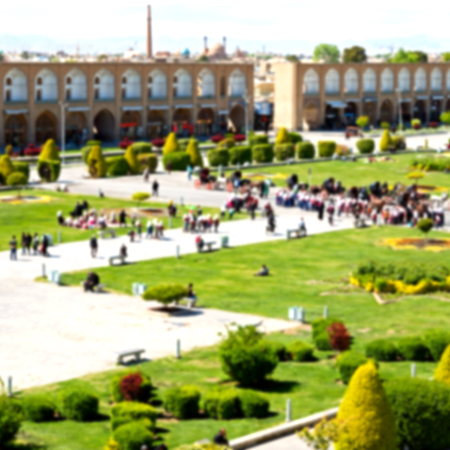 Sheikh: blur in iran   the old square of isfahan prople garden tree heritage tourism and mosque Stock Photo