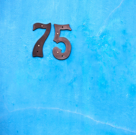 in south africa close up of the blur number in     a wall  house like texture background Stock Photo