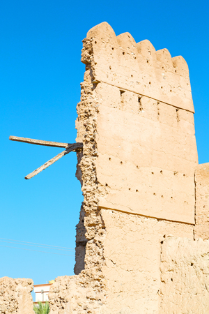 bastion: fort battlesment sky and    star brick in oman   muscat the old defensive Stock Photo