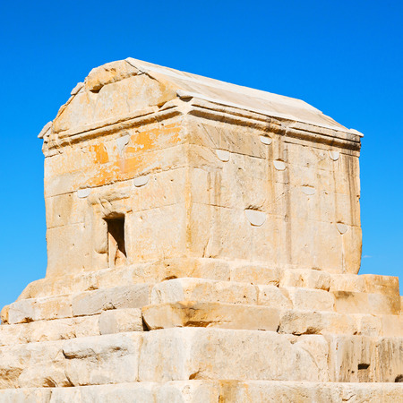 in iran   pasargad the old construction  temple and grave column Stock Photo