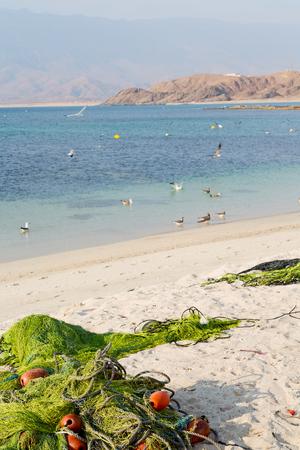 near sandy beach sky      and mountain in oman arabic sea Stock Photo