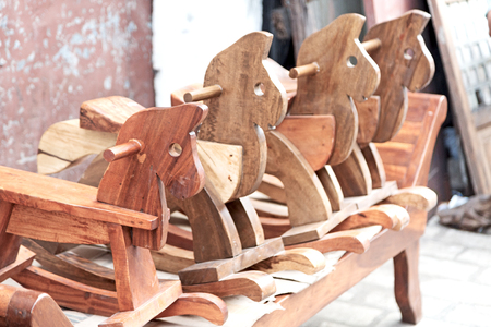 in a old market rocking horse made in wood like abstract concept Stock Photo