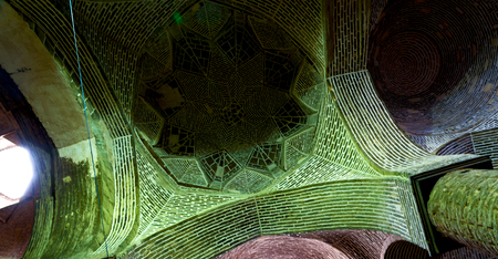blur in iran abstract texture of the  religion  architecture mosque roof persian history Stock Photo