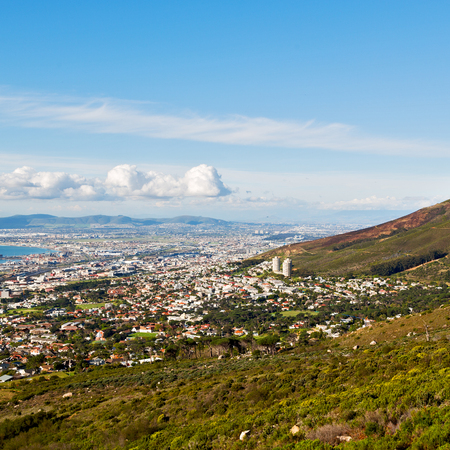 capetown: blur  in south africa cape town  city skyline from table mountain sky ocean and house Stock Photo