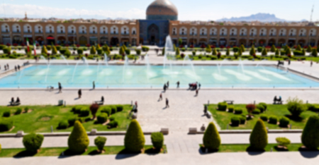 unesco: blur in iran   the old square of isfahan prople garden tree heritage tourism and mosque Stock Photo