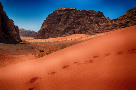 in the wadi rum desert of jordan  sand and mountain  adventure destination Stock Photo