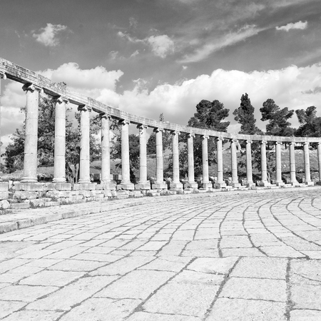 archeological: in jerash jordan the antique archeological site classical heritage for tourist Stock Photo