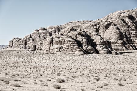 in the wadi rum desert of jordan  sand and mountain  adventure destination Stock Photo