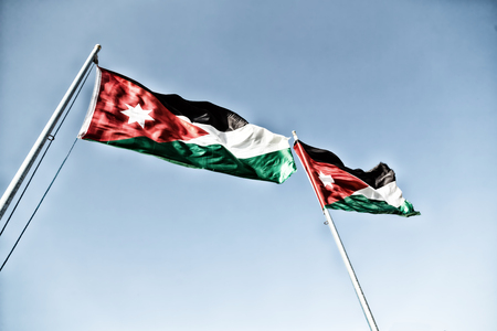 flagstaff: in jordan the national flag in the wind and sky