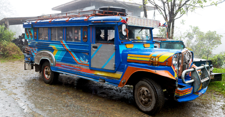 in asia philipphines the typical bus for tourist transportation 写真素材