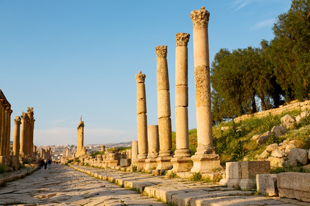 in jerash jordan the antique archeological site classical heritage for tourist Stock Photo
