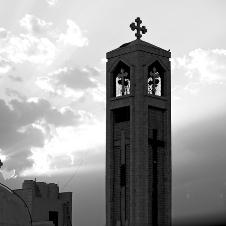 in amman jordan the chatolic church in the light of cloudy sunset