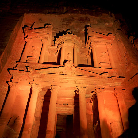 the antique site of petra in jordan the beautiful wonder of the world at night Stock Photo
