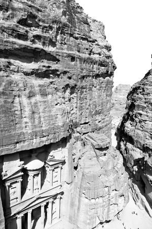 corinthian column: from high  the antique site of petra in jordan the beautiful wonder of the world