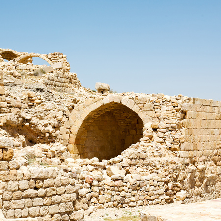 crenellated: in jordan the old caste of ash shubak and his tower in the sky