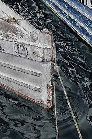 painted wood: philippines old dirty prow of a boat in the port like abstract Stock Photo