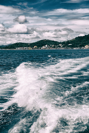 blur  in  philippines   a view from  boat  and the pacific ocean  mountain background Stock Photo